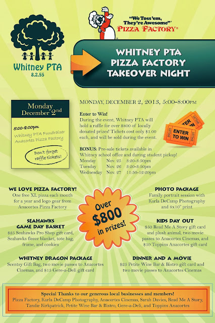 Whitney PTA Pizza Factory Takeover Raffle