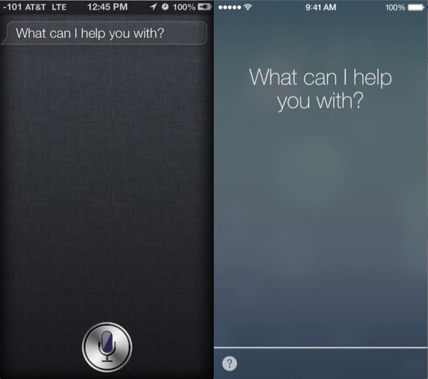 iOS 7 VS. iOS 6 Siri UI Comparison