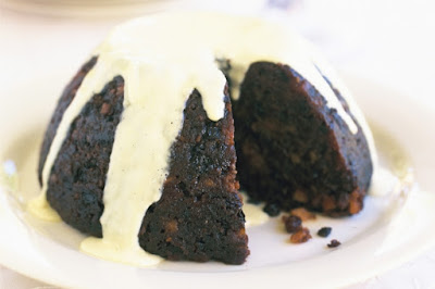 Christmas pudding with vanilla-bean custard Recipe