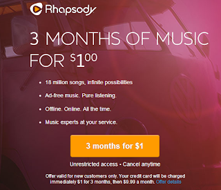 rhapsody 3 months of music for $1 deal