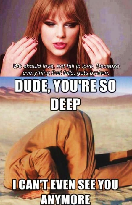 Dude you re so deep i can t see you anymore taylor swift meme