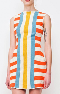 Striped Crochet Shift Dress