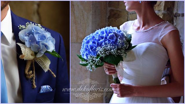 Niebieski bukiet ślubny hortensja Opole Kłodzko