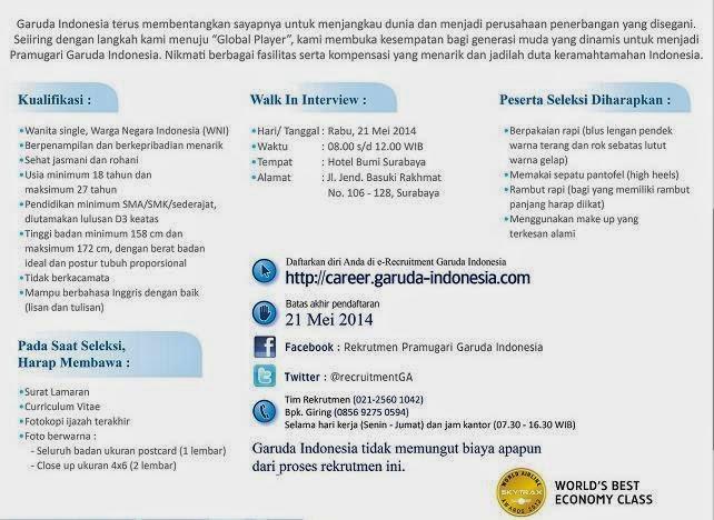 loker-surabaya-pramugari-garuda-indonesia-terbaru-mei-2014