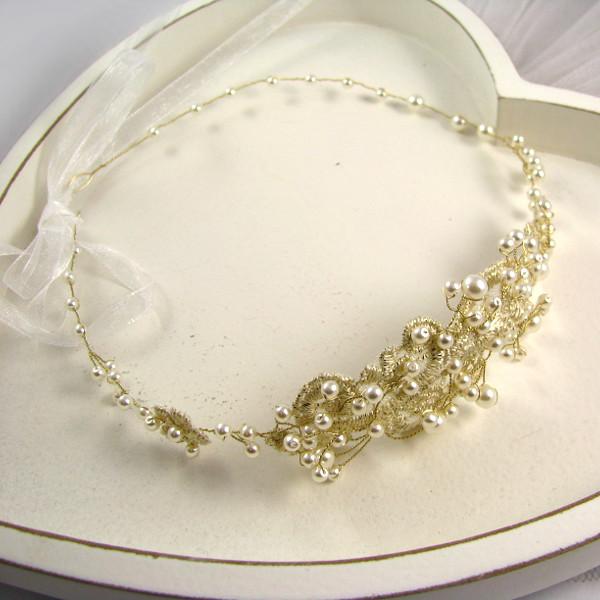 Wiązana opaska ślubna z perłami i złota koronką