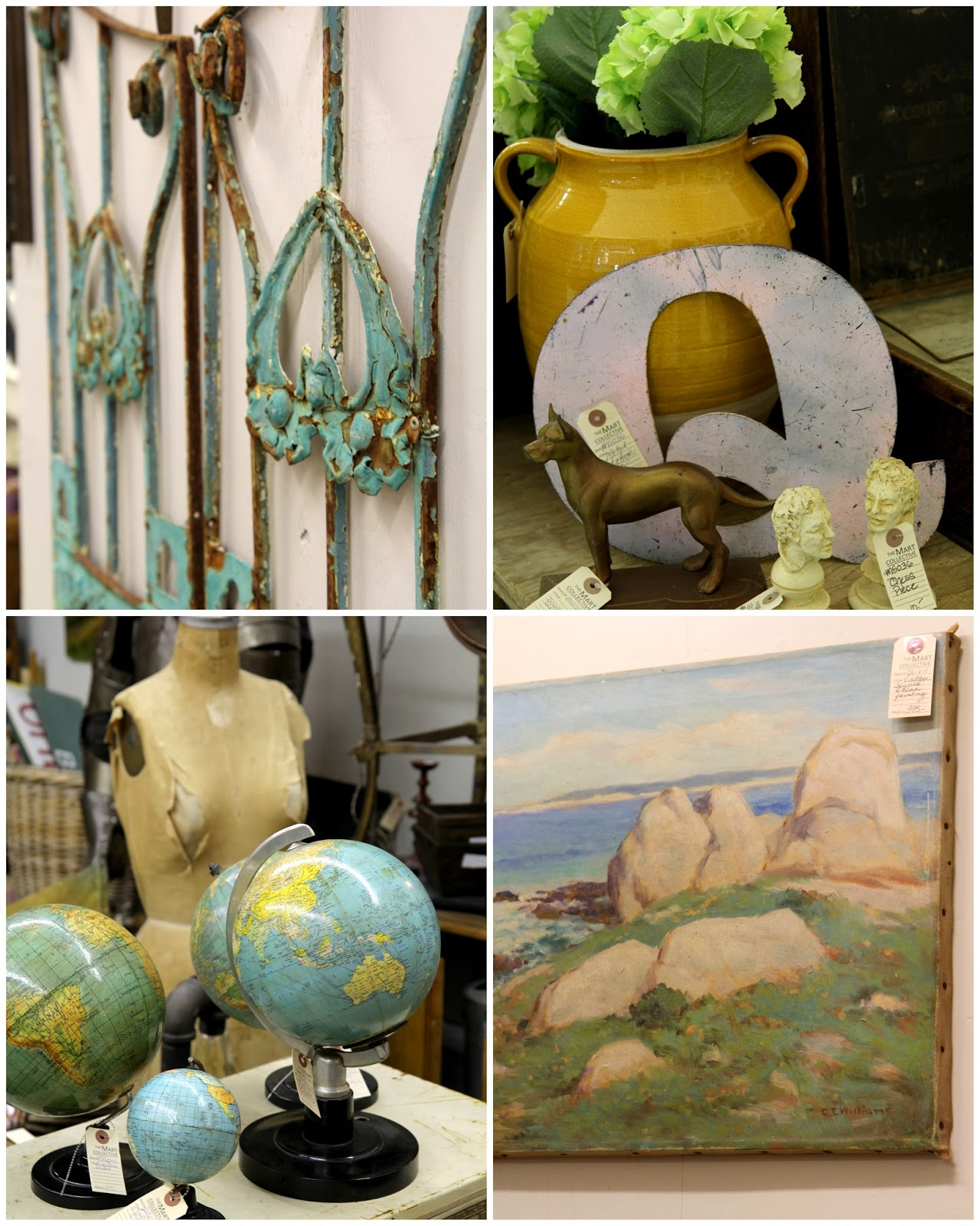 Antique gate, school globes, and paintings