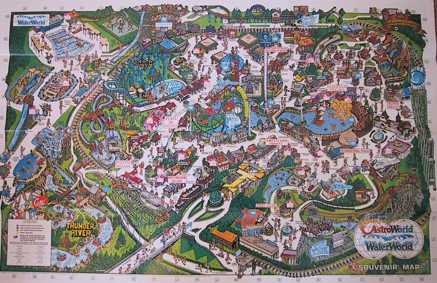The crazy world of honey bunny six flags astroworld park maps six flags astroworld park map 1990 gumiabroncs Images