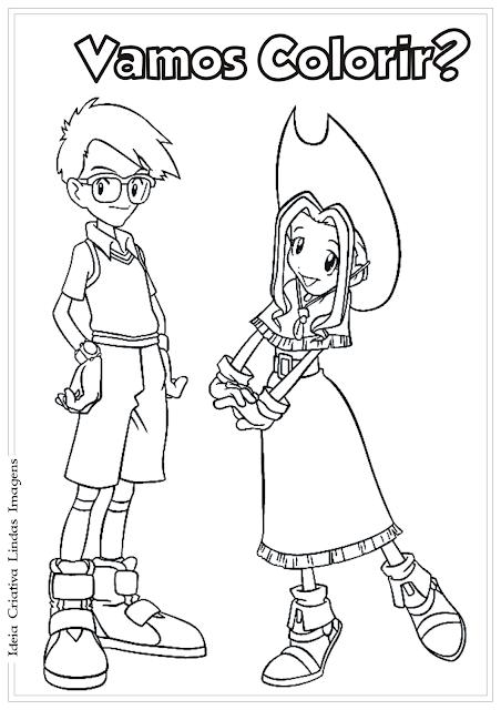 Joe e Mimi Digimon desenho para colorir