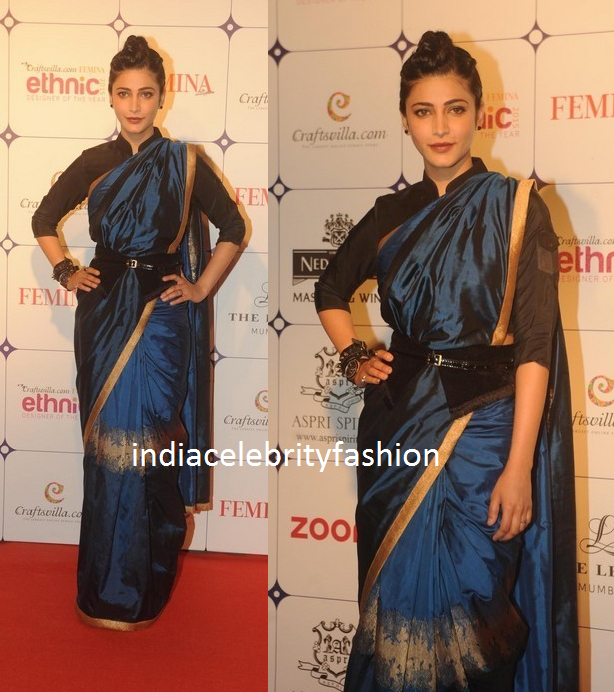 Shruti Haasan in Shruti Sancheti Saree at Femina ethnic fashion awards