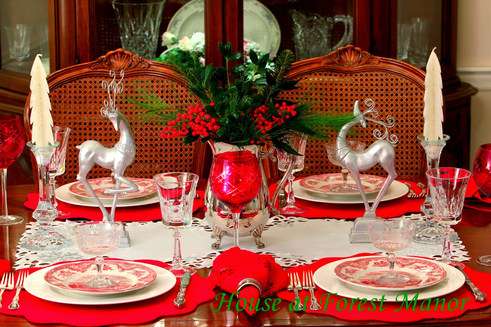 A Silver and Red Christmas Table