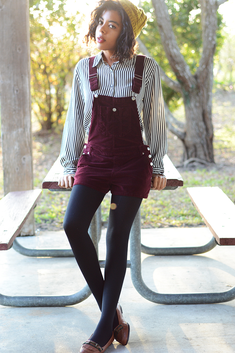 Fashion Blogger Anais Alexandre of Down To Stars in forever 21 overalls and beanie with a vintage button down and GoJane loafers