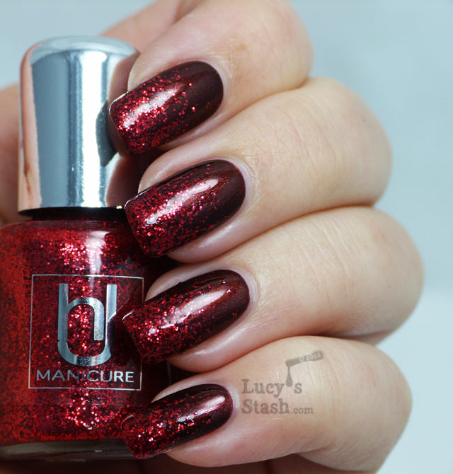 Lucy's Stash - HJ Manicure Ruby Red Glitter over Disco
