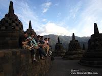 Tourist waiting for sunset, Borobudur Yogyakarta