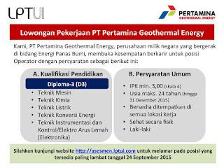 Lowongan Kerja PT Pertamina Geothermal Energy