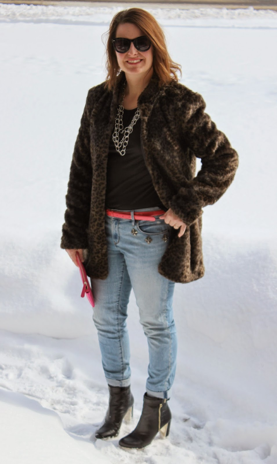 Faux Fur leopard coat jacket, jeweled jeans, snow, winter look, winter outfit, winter style