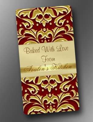 Gold Embossed Damask Red Holiday Baking Labels
