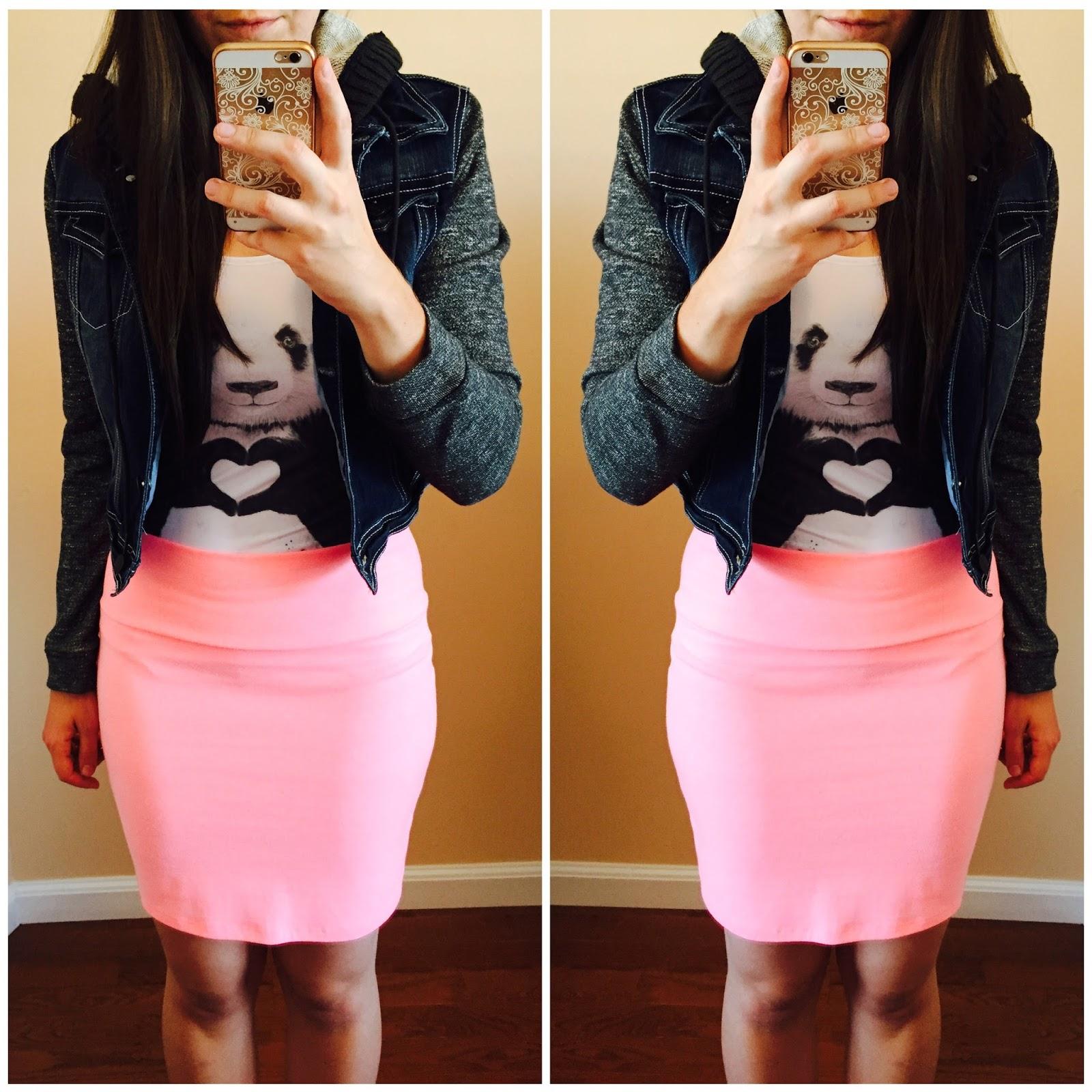 pink skirt, denim jacket with fleece arms, casual, how to style a tank top, panda tank top, pinkcess, pinkcess review, pinkcess tank top, tank top styled 20 ways,