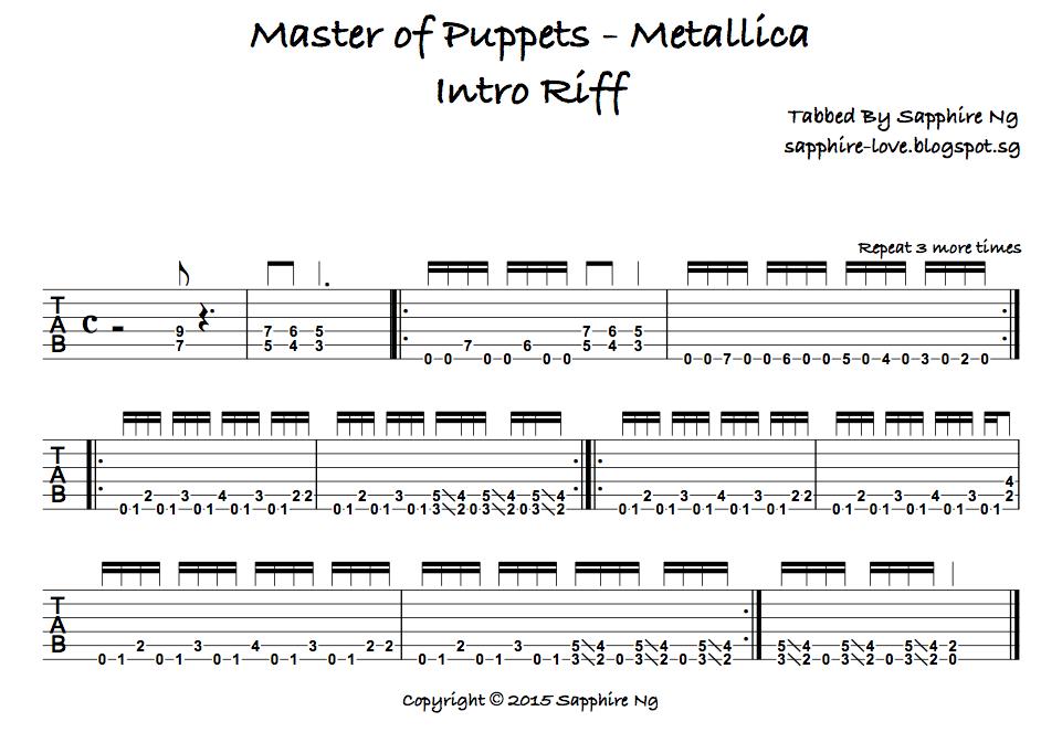 mettalica guitar tabs