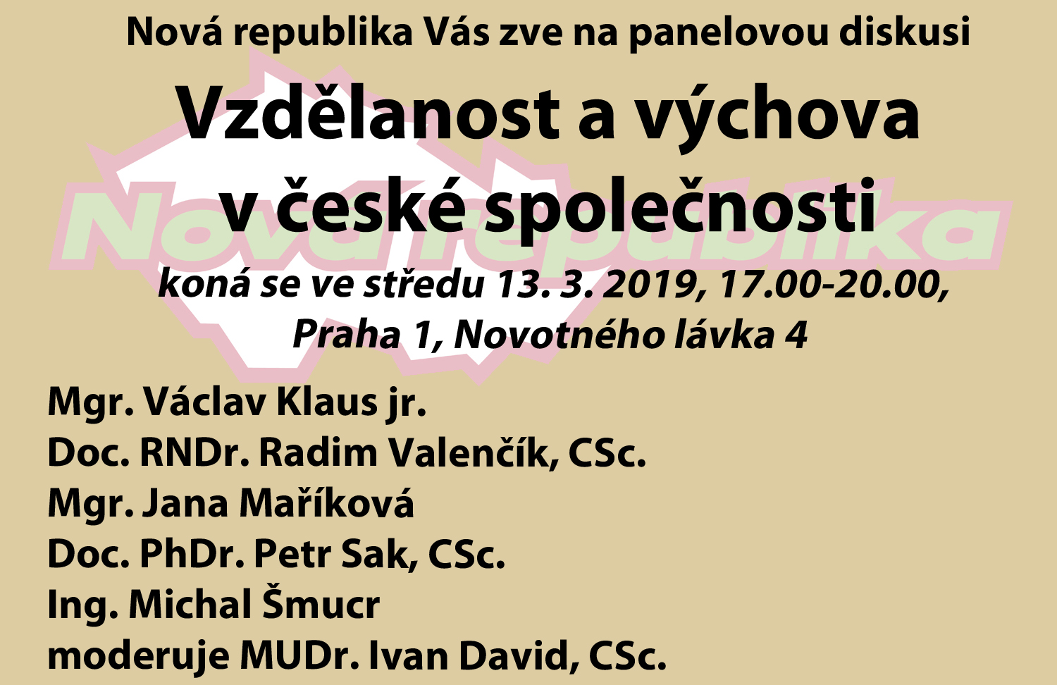 Panelová diskuze 13. 3. 2019