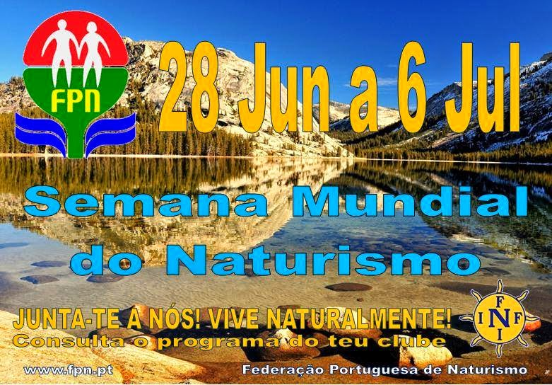 Em 2014 o Naturismo é comemorado com uma Semana Mundial do naturismo e nudismo em Portugal. Apelamos a todos os nudistas e naturistas de Portugal, bem como as todas as Associações e Clubes filiados na Federação portuguesa de Naturismo que ocupem os espaços ao seu dispor para promover e divulgar os nossos objectivos. Saudações Naturistas