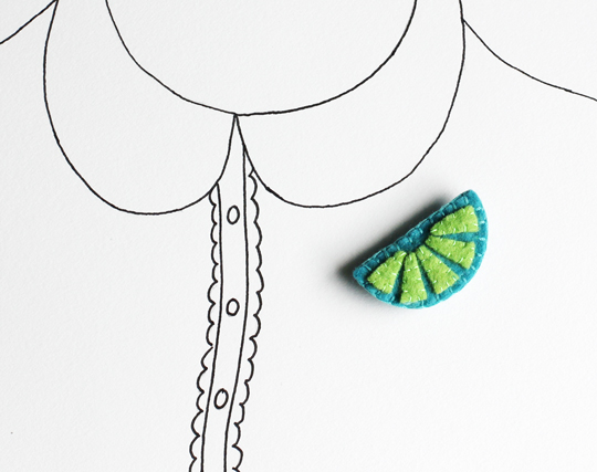 Lime felt brooch by My Hideaway on Etsy
