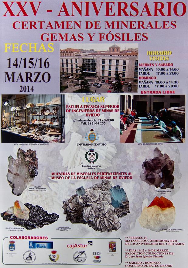 Cartel 25 certamen de minerales, gemas y fósiles