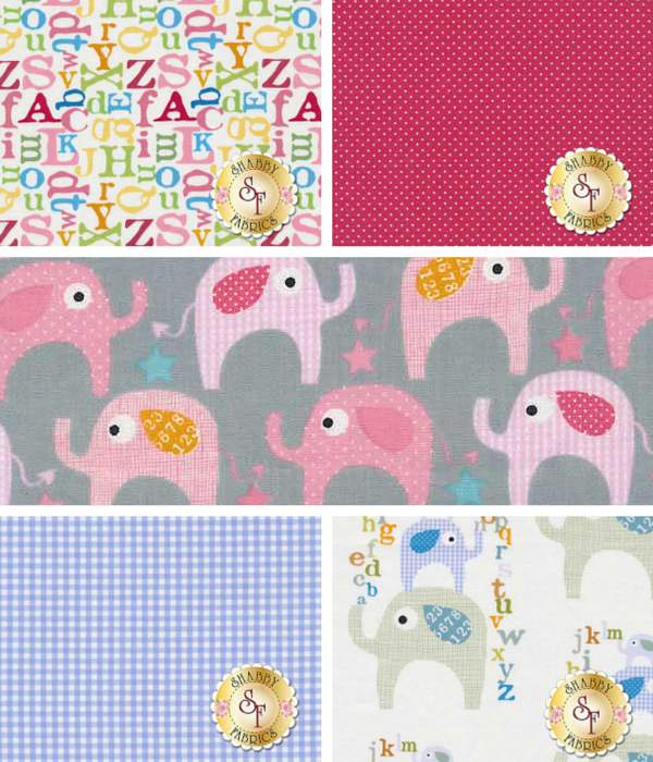 Shabby Fabrics | Le Elephant by Ellen Crimi for Moda Fabrics