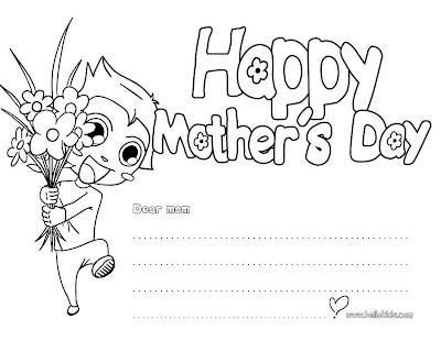 Mother day coloring pages greeting card