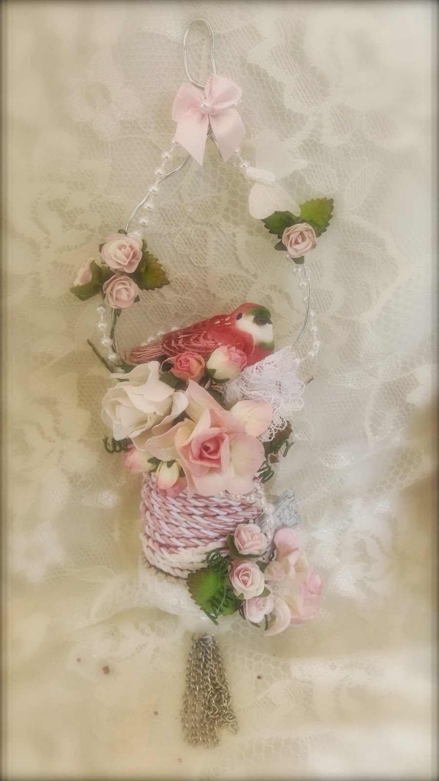 Martica designs shabby chic christmas spool ornament for Shabby chic christmas