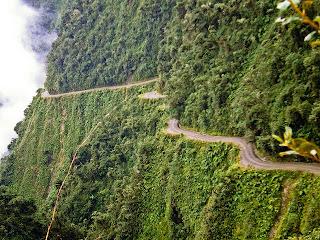 North Yungas Road Between Bolivia and Peru