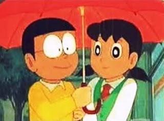 Gambar Nobita dan Shizuka pakai payung berdua