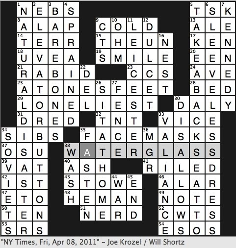 Rex Parker Does The Nyt Crossword Puzzle 1856 Antislavery Novel Fri 4 8 11 Thriller Author