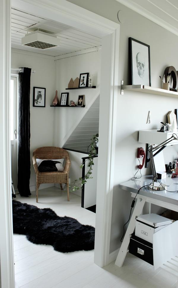 inredningstips hallen, svart och vitt i hallen, posters, tavlor i svart och vitt, arbetsrum, vitt golv plank, vita väggar, svarta och vita inredningsdetaljer. prints