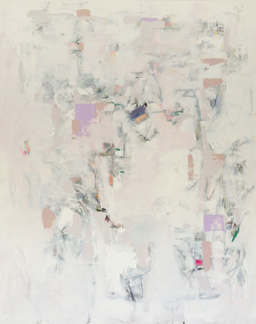 "Karri McLean Allrich - white abstract painting 60x48"" the tracings of mapmaking, lost and found territories"