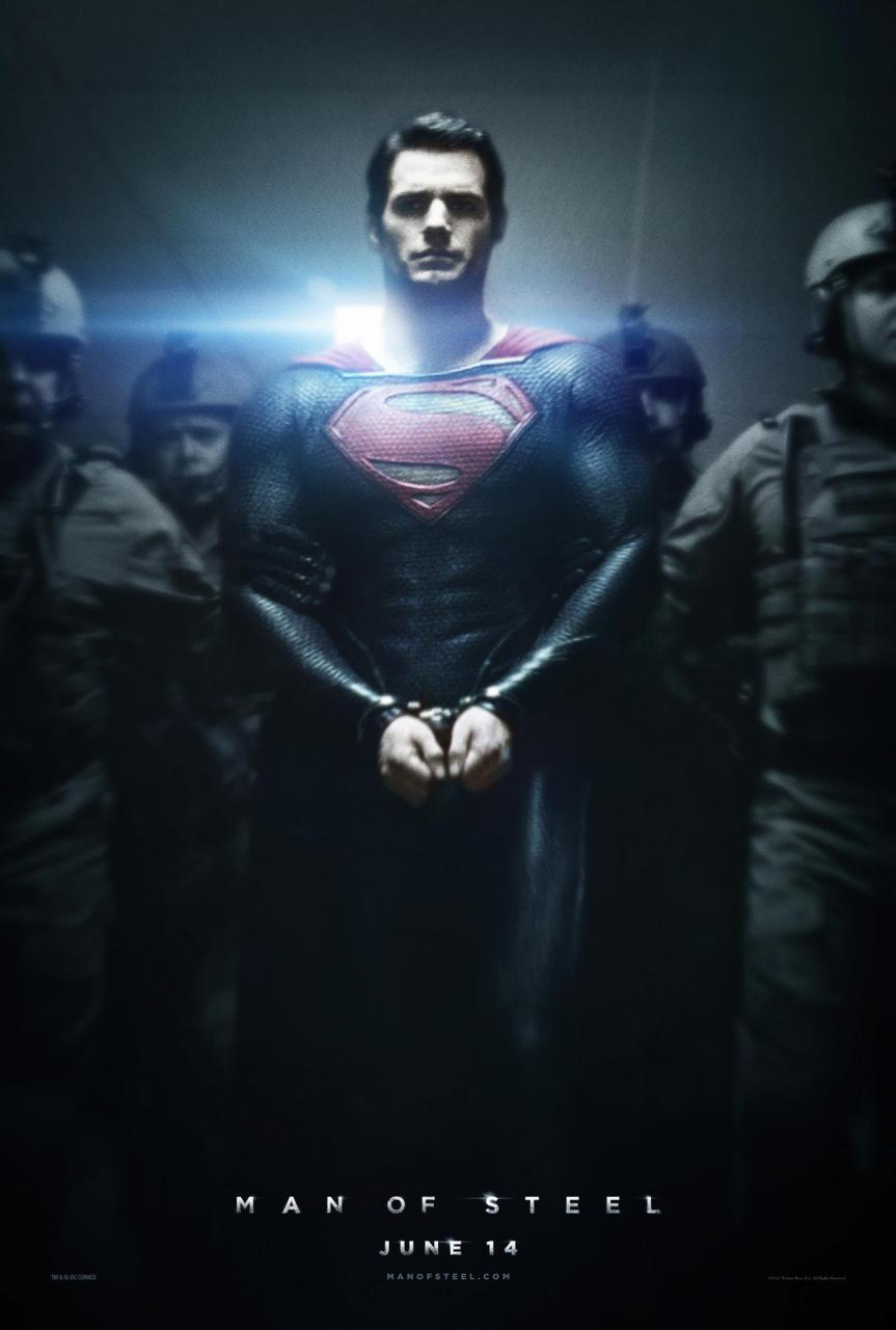 Teaser poster for Man of Steel.  Superman is being led down a hallway in handcuffs, escorted by soldiers.