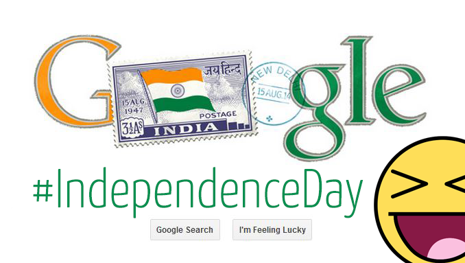 Independent India's first stamp - 1st postage stamp of Independent India on August 15th 2014 15-08-2014 Google Doodle.