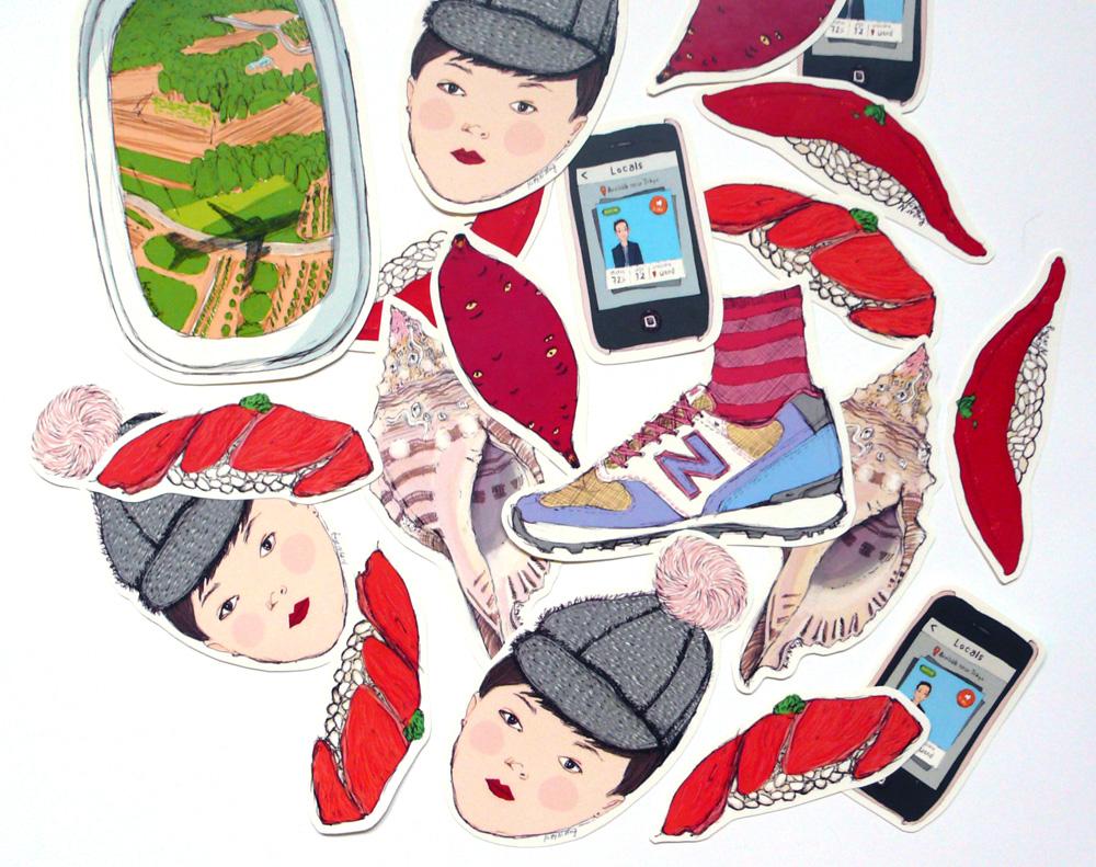 Kitty N. Wong / 5 Days in Tokyo Illustrated Sticker Set