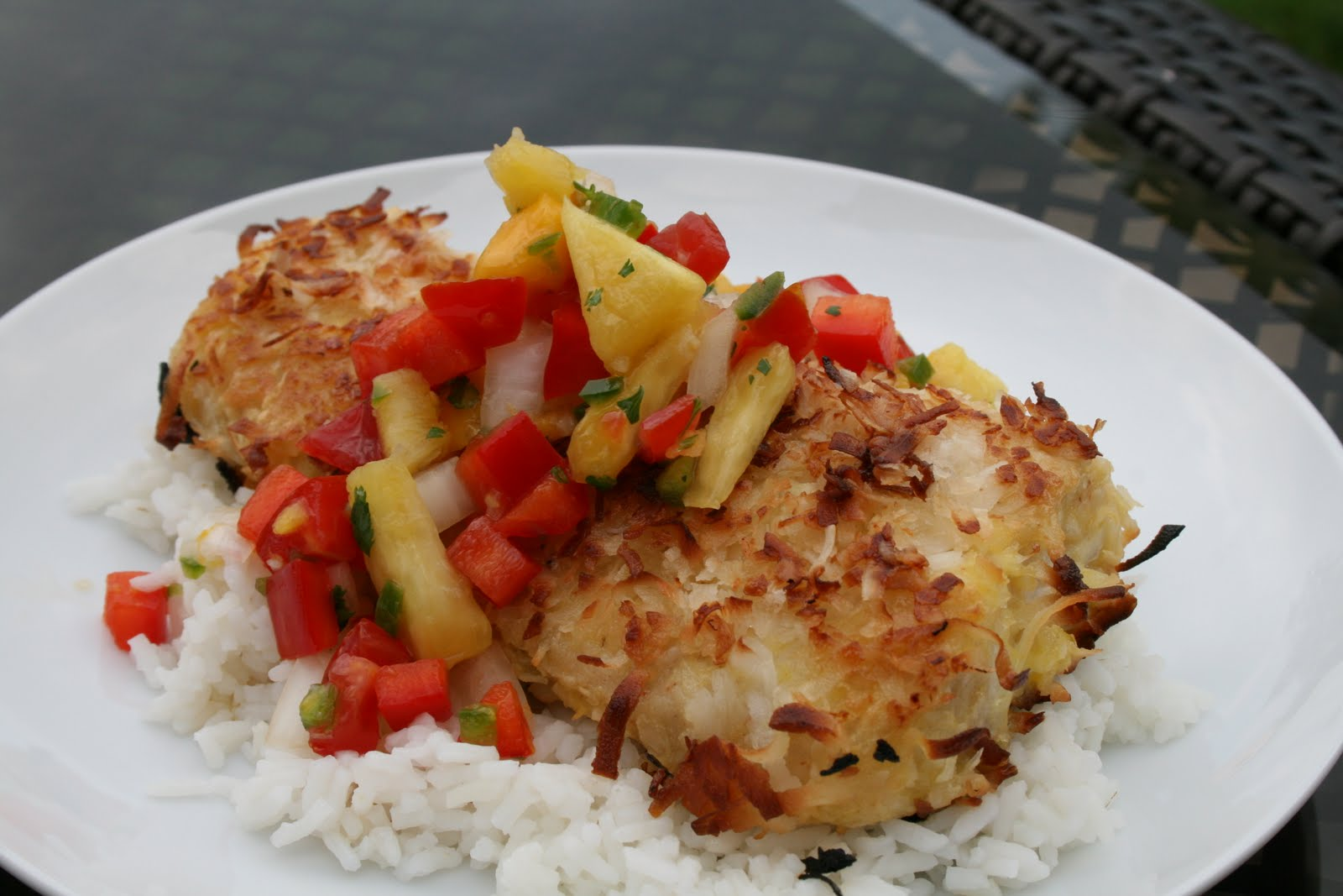 My Happy Meals: Tropical Salsa Topped Coconut Crusted Mahi Mahi