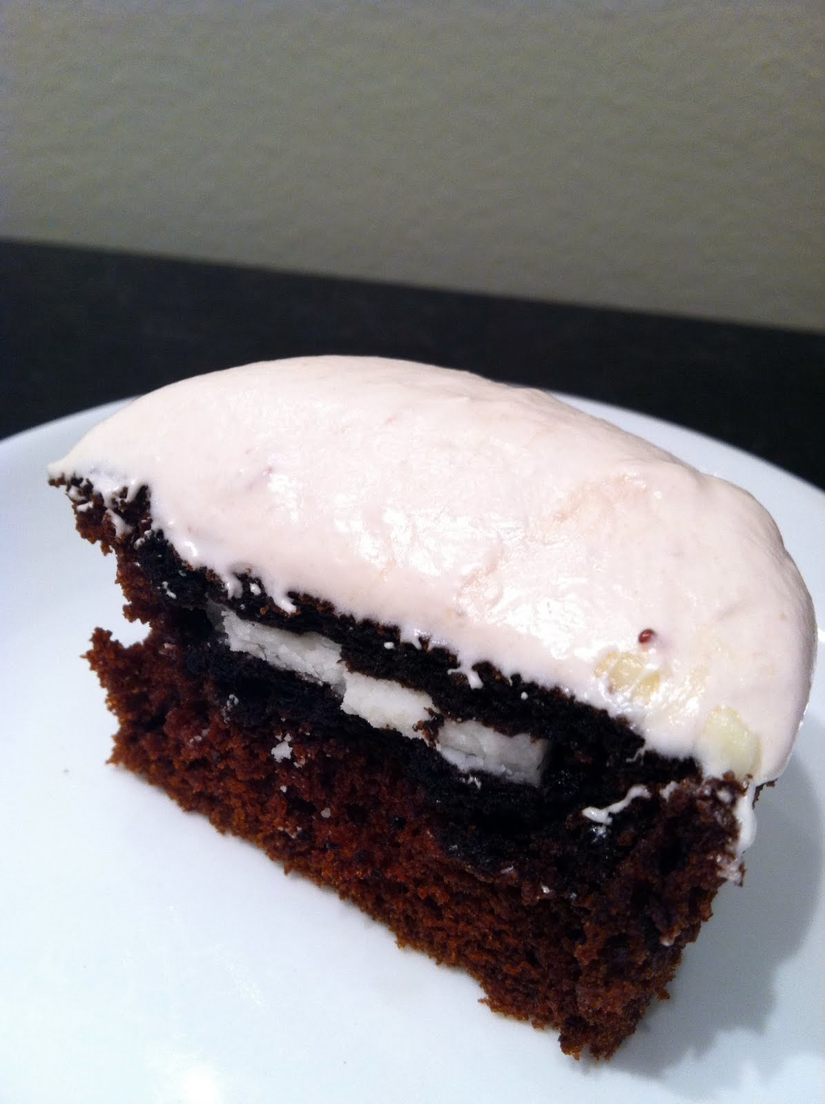 Boston Sweetie: Chocolate Oreo Cupcakes with Strawberry Fluff Frosting