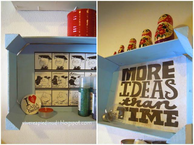 Mensole decorate realizzando riutulizzando Cassette della Frutta