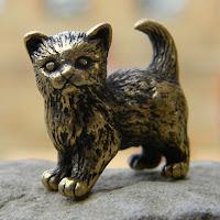 купить фигурку кот кошка бронза латунь металлические статуэтки миниатюры