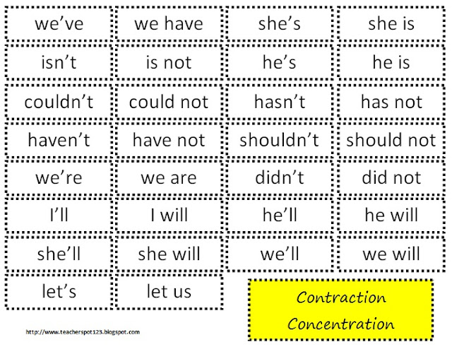 ... Spot: Teacher Resources: Freebie! Contraction Concentration Game