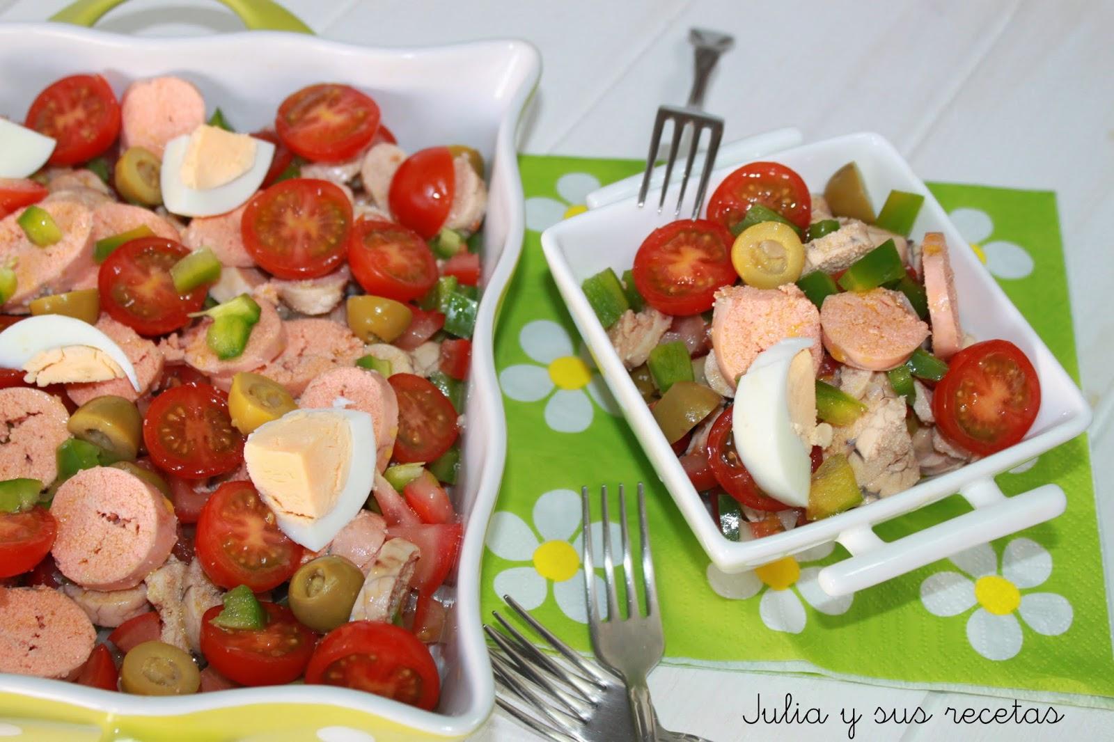 Julia y sus recetas ensalada de huevas de merluza for Las mejores ensaladas