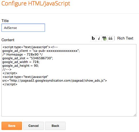 Penyisipan HTML adsense
