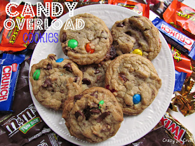 candy overload cookies overhead photo on white plate with candy around and words