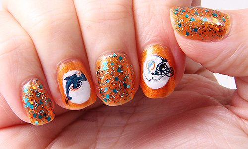 Dema Pixie 31dc2013 Day 2 Orange Nails Miami Dolphins