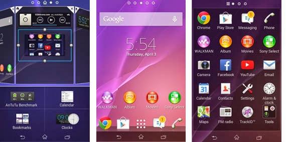 Interface Sony Xperia E1 - Homescreen