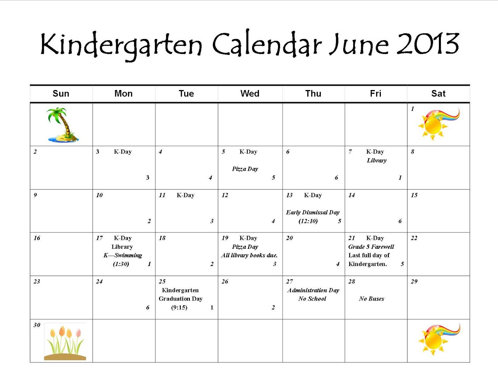 June Calendar For Kindergarten : Mrs nel s kindergarten news