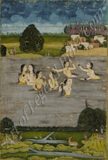 Women Bathing in a Lake - 18th Century Mughal Painting