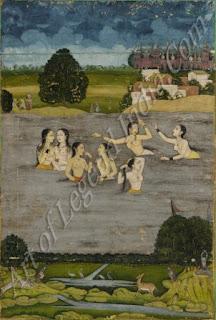 Women Bathing in a Lake - 18th Century Mughal Painting